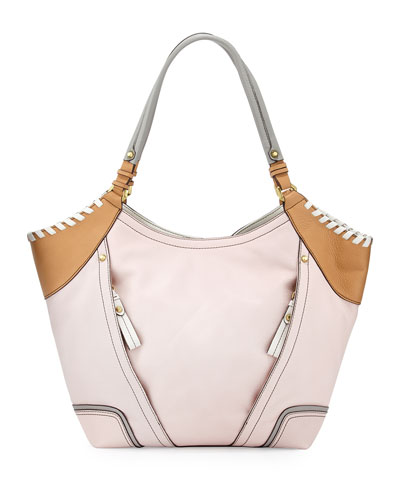 Tegan Leather Shopper Tote Bag, Blush/Multi