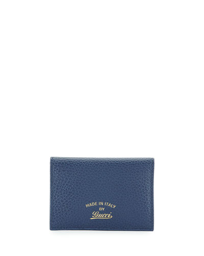 Leather Bi-Fold ID Case, Indigo