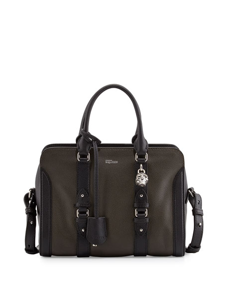Padlock Small Zip Satchel Bag, Green/Black