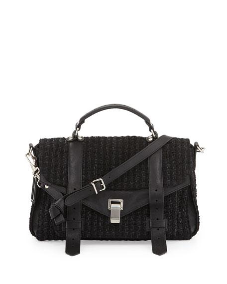 PS1 Medium Lorma Tweed & Luxe Calfskin Messenger Bag, Black