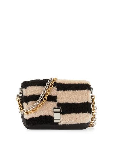 Courier-Blurred XS Shearling Fur Shoulder Bag, Black/Nude