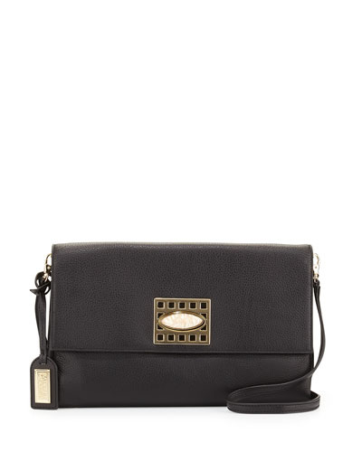 Precious Soft Pebbled Leather Clutch Bag, Black