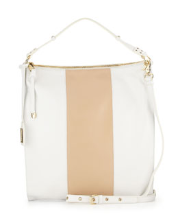 Taryn Colorblock Leather Hobo Bag, White/Latte