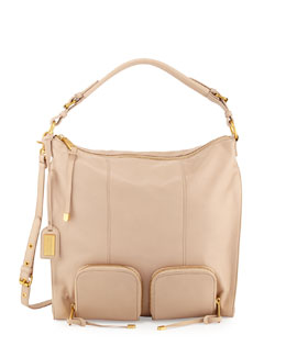 Poppy Leather Hobo Bag, Latte