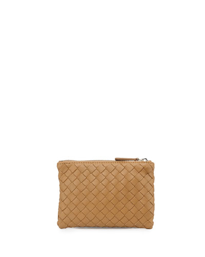 Zip-Top Woven Leather Key Ring, Camel