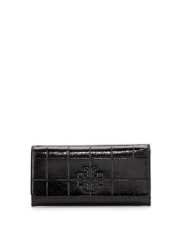 Marion Quilted Patent Leather Wallet, Black