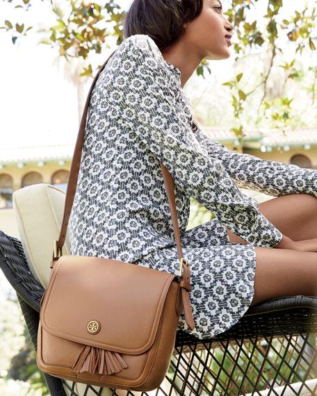 Frances Pebbled Leather Saddle Bag, Bark