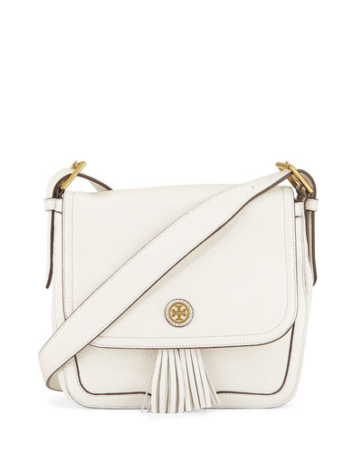 Frances Pebbled Leather Saddle Bag, New Ivory