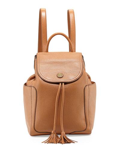 Frances Leather Flap Backpack, Bark