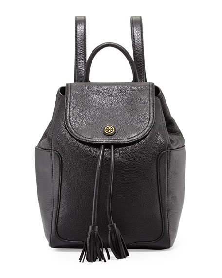 Tory Burch Frances Leather Flap Backpack, Black