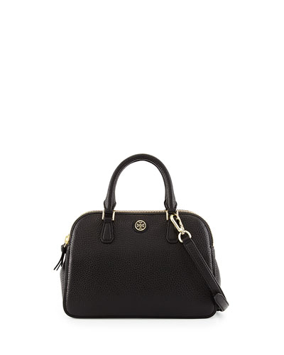 Robinson Small Pebbled Satchel Bag, Black