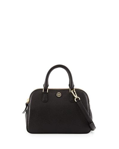 Robinson Small Pebbled Satchel Bag, Black