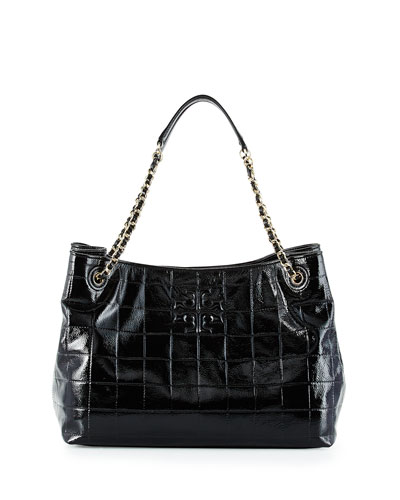 Marion Quilted Patent Tote Bag, Black