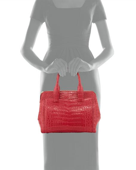 Small Modern Crocodile Tote Bag, Red Matte