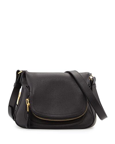 Jennifer Small Leather Shoulder Bag, Black