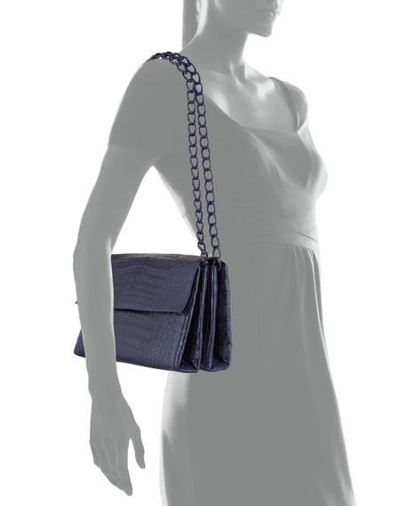Medium Crocodile Chain Shoulder Bag, Navy Matte
