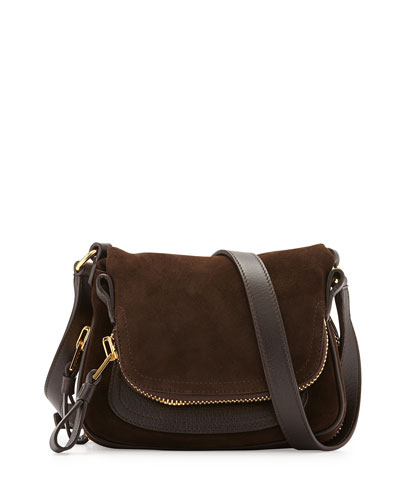 Jennifer Suede Micro Crossbody Bag, Dark Brown