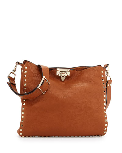 Rockstud Flip-Lock Messenger Bag, Light Cuir