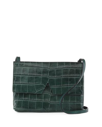 Signature V Croc-Print Baby Crossbody Bag, Pearl/Black