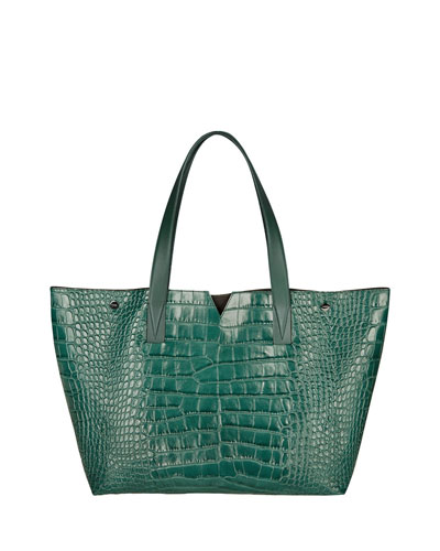 Signature V Croc-Print Tote Bag, Forest Green