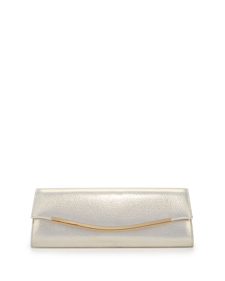 Metallic Faux-Leather Envelope Evening Clutch Bag, White Gold