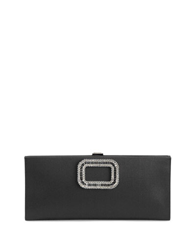 Pilgrim Strass-Buckle Satin Clutch Bag, Black