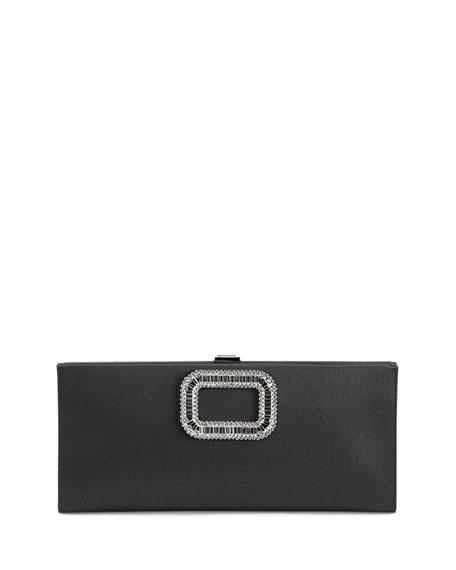 Pilgrim Strass-Buckle Satin Clutch Bag, Black