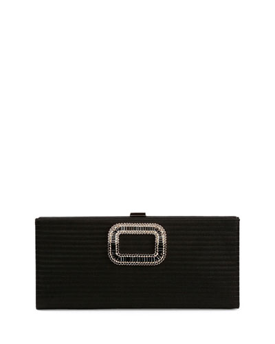 Pilgrim Strass-Buckle Stitched Clutch Bag, Black