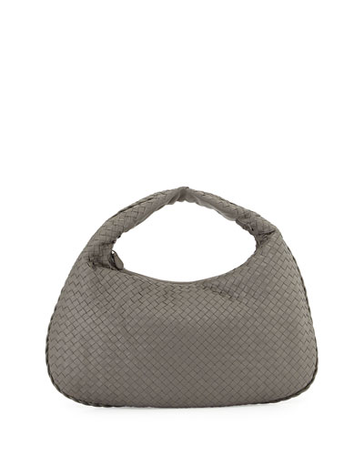 Veneta Large Woven Hobo Bag, Gray