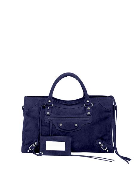 Balenciaga Classic City Baby Daim Suede Bag, Navy Blue