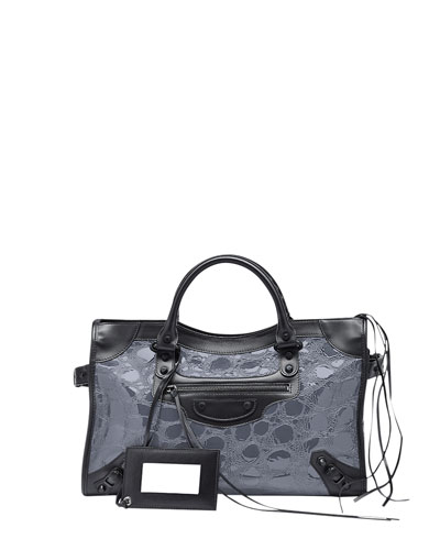 Classic City Croc-Embossed Bag, Gray/Black