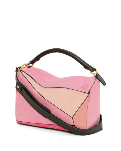 Puzzle Leather & Suede Small Bag, Pink