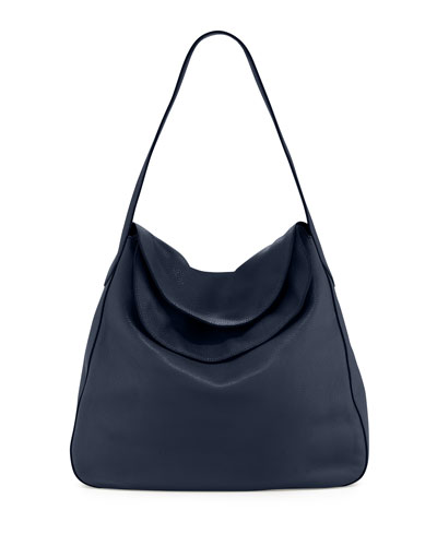 Vitello Daino Doubled Flap-Top Hobo Bag, Navy (Baltico)