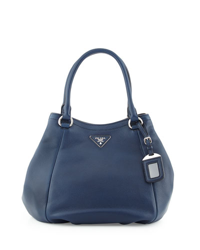 Vitello Daino Small Satchel Bag, Navy (Baltico)