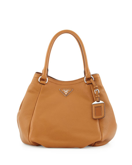 PradaVitello Daino Small Satchel Bag, Tan (Cannella)