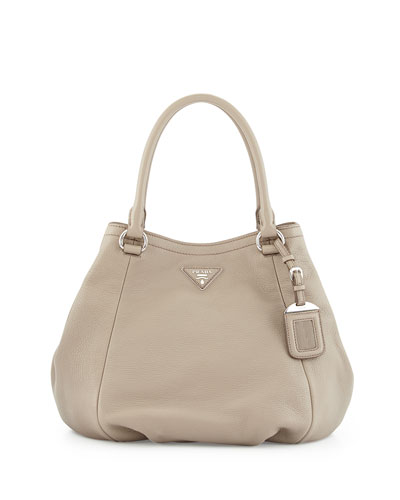 Vitello Daino Small Satchel Bag, Gray (Argilla)