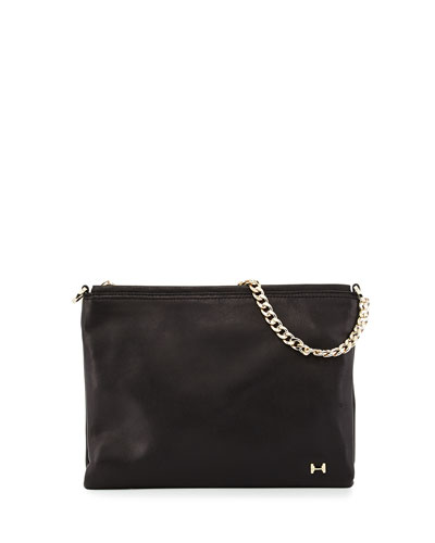 Crossbody Leather Clutch Bag, Black