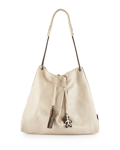 Cervo Soft Leather Shoulder Tote Bag, Cream