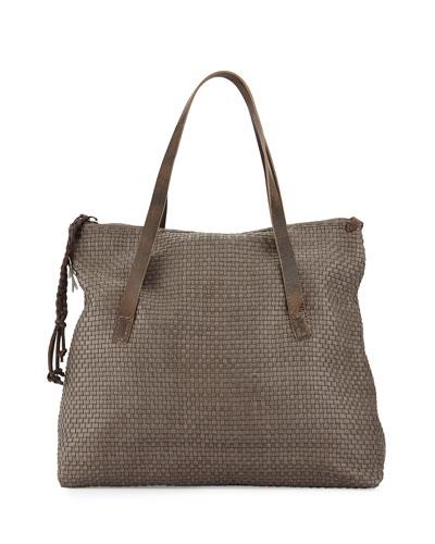 Lady Amazone Medium Woven Fold-Over Tote Bag