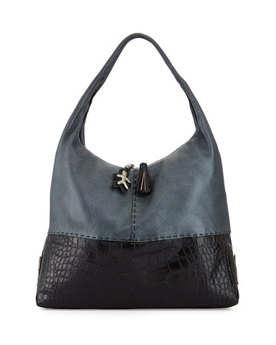 Canotta Crocodile-Embossed Hobo Bag
