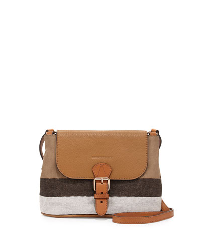 Brit Small Grainy Canvas Messenger Bag, Saddle Brown