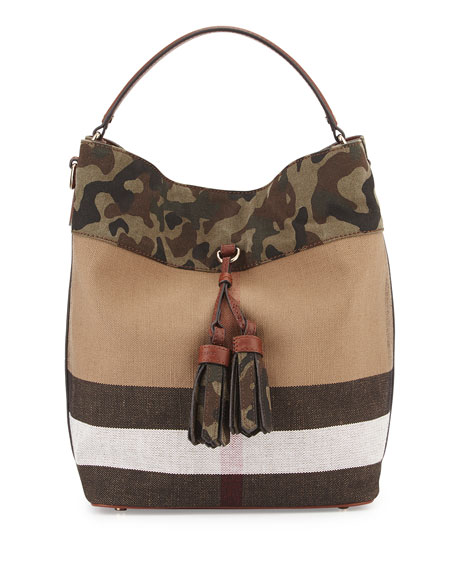 Burberry Ashby Camo Trim Check Canvas Bucket Bag Russet