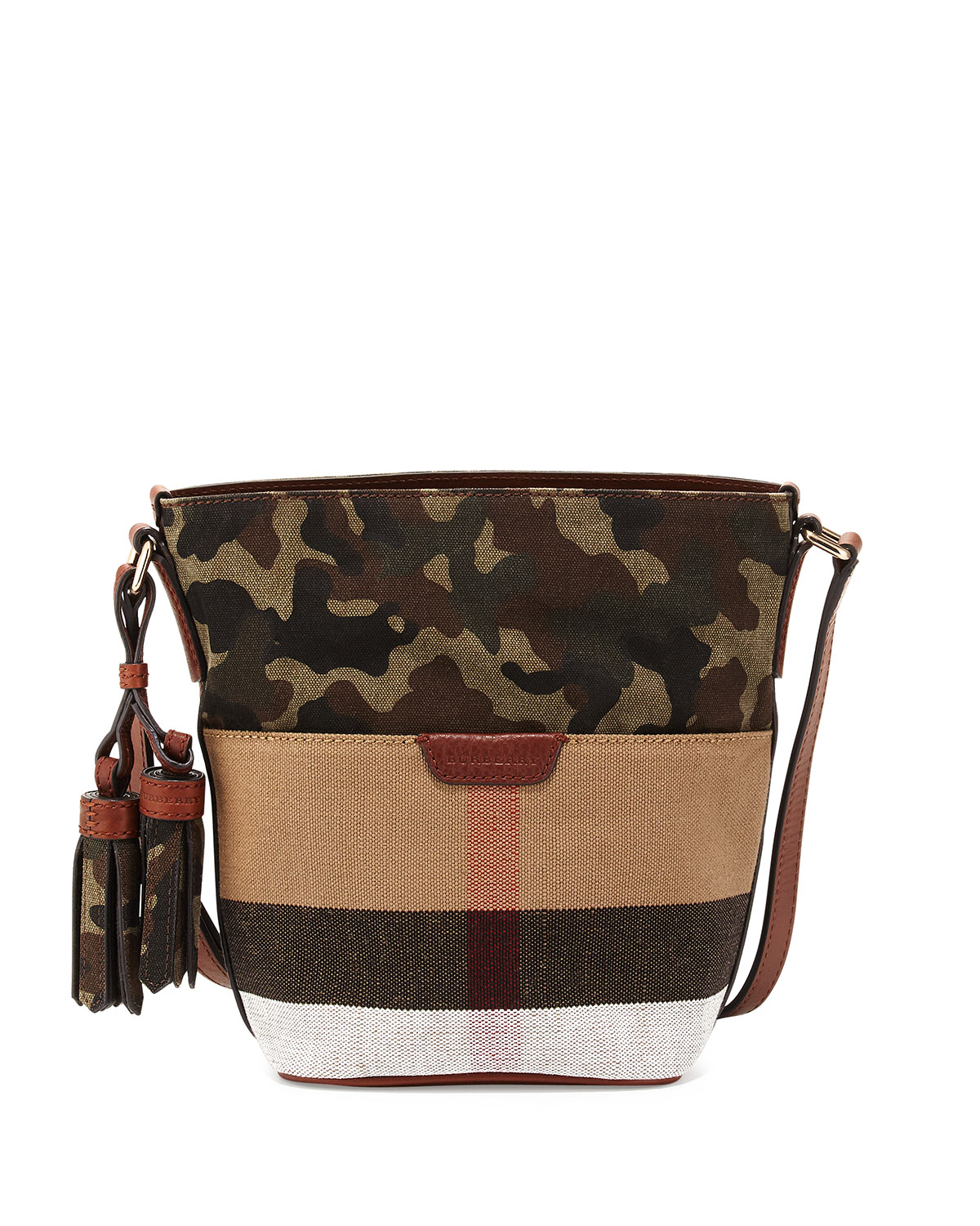 b23ac13a1061c7 Burberry Check Canvas Camo-Print Mini Bucket Bag, Rust Brown ...