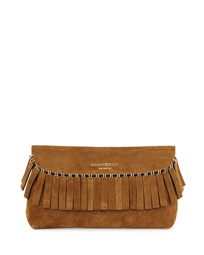 Prorsum Suede Ring Fringe Clutch Bag, Dark Sand