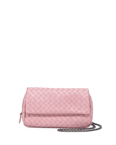 Intrecciato Mini Half-Flap Messenger Bag, Mallo