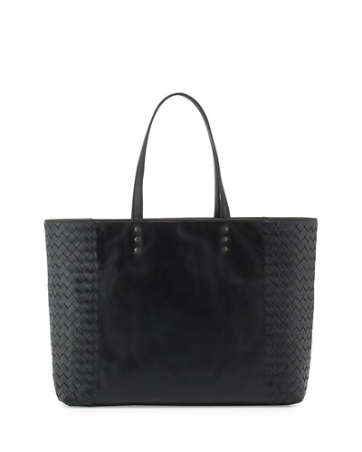 Woven-Side Medium Tote Bag, Black