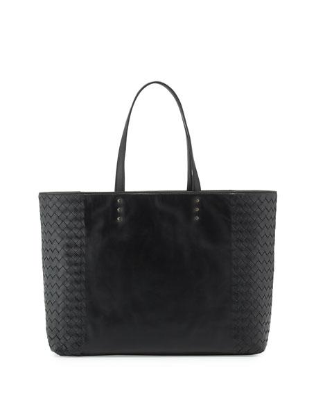 Bottega Veneta Woven-Side Medium Tote Bag, Black