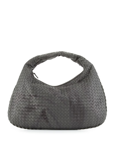 Veneta Intrecciato Large Shadow Hobo Bag, Light Gray