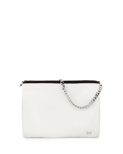 Crossbody Leather Clutch Bag, White/Black