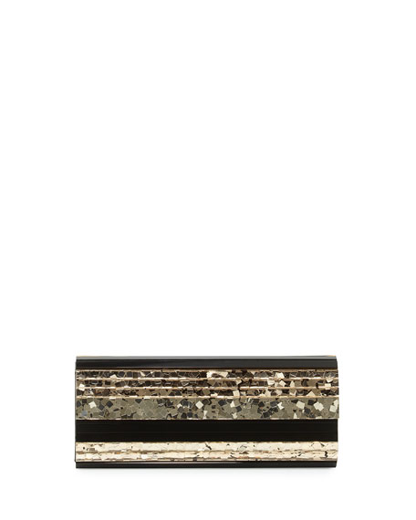 Jimmy Choo Sweetie Paillette Structured Clutch Bag, Golden
